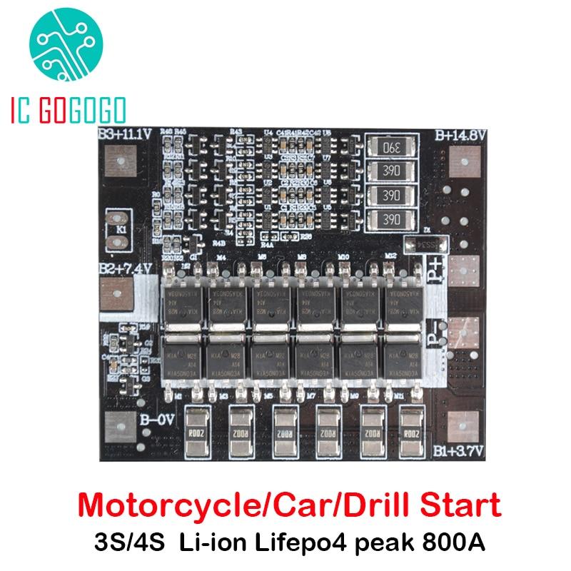 3S 4S 12V Li-ion Lifepo4 Lithium Battery Protection Board 3.2V/3.7V BMS Balance 800A Motorcycle Car Drill Starter 50A 80A 120A