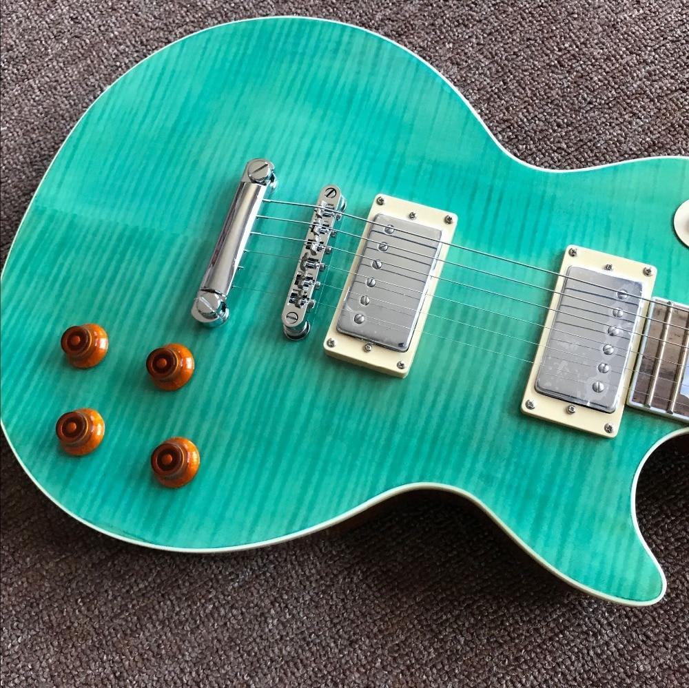 Green color Standard electric guitar, Tiger Flame top guitarra,Rosewood fingerboard Standard r9 gitaar.mahogany body enlarge