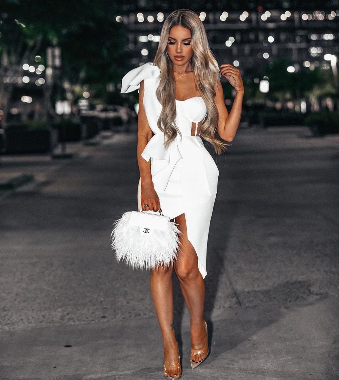 فستان صيفي جديد للسيدات لعام 2020 فستان ضيق بكتف واحد مُزين بفيونكة شبكية مكشكشة بدون أكمام مع أشرطة فستان للمشاهير والحفلات المسائية مثير