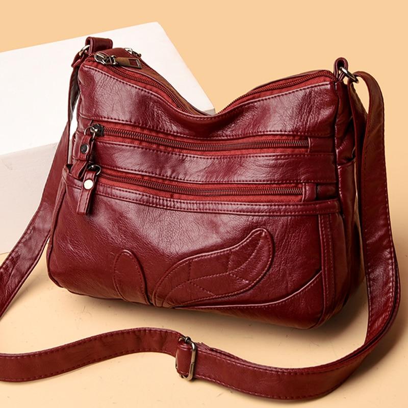 Soft Leather Shoulder Crossbody Bags for Women 2021 New Luxury Handbags Women Bags Designer Messenger Bag Female Purses Sac недорого