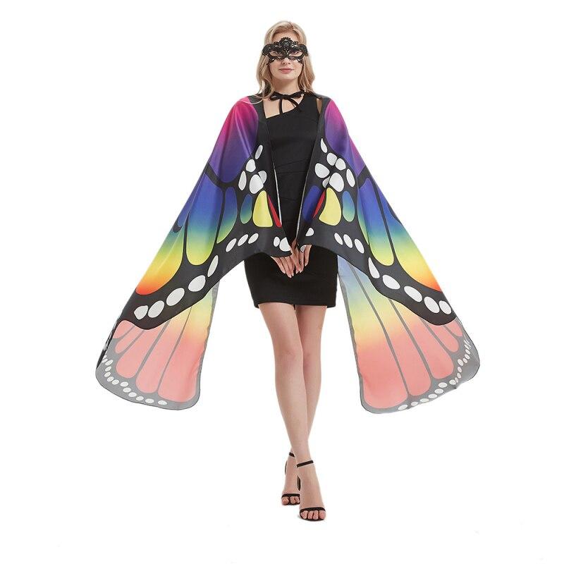 1 Juego de alas de capa de mariposa de un solo lado/doble para mujeres, chal de mariposa, manto de damas de hadas con una misteriosa máscara de encaje para Halloween