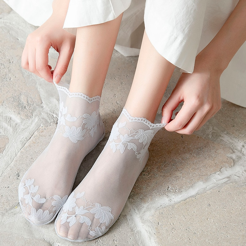 KNOWDREAM Silk Socks Creative Harajuku New Product Crystal Funny chrysanthemum Happy Women Socks Cas