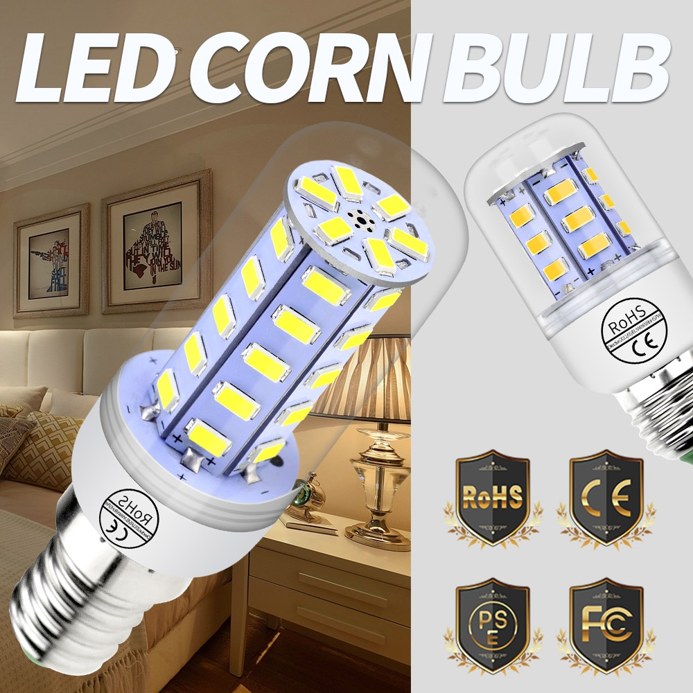 tsleen high quality 4014 smd no flicker led corn bulb e27 e14 220v led lamp light b22 g9 gu10 36 56 72 96 138leds smart power ic Corn Bulb E27 Led Lamp Candle E14 220V Led 5730 SMD 24 36 48 56 69 72led Energy Saving Lamp G9 Bulbs Home GU10 Ampoule Led B22