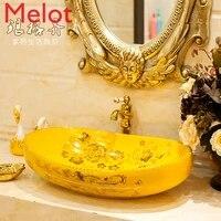 oval table basin ceramic bathroom wash basin wash basin wash basin art basin yellow descendants of the rich