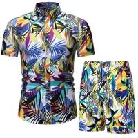 men 2 piece set summer shorts set man printed shirt and shorts set beach wear board shorts hawaiian shirt set fashion clothing