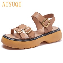 Women's Sandals Platform 2021 New Summer Thick-soled Retro Roman Girl Sandals Genuine Leather Open T