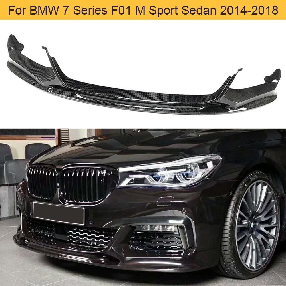 Parachoques delantero del coche, parachoques de labio, Spoiler para BMW 7 Series F01 M Sport Sedan 2014-2018, alerón de labio delantero de coche, fibra de carbono/FRP negro