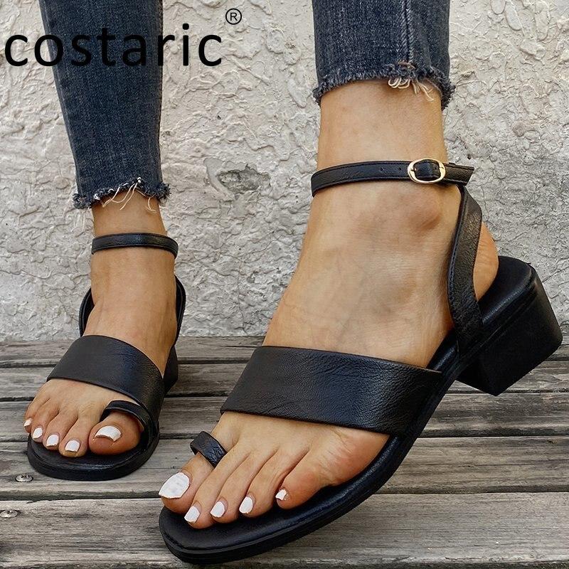 Buckle Strap Square Heel Women Flip Flop Sandals New Fashion Thick Heel Women Shoes Vintage PU Peep Toe Sandals 2021