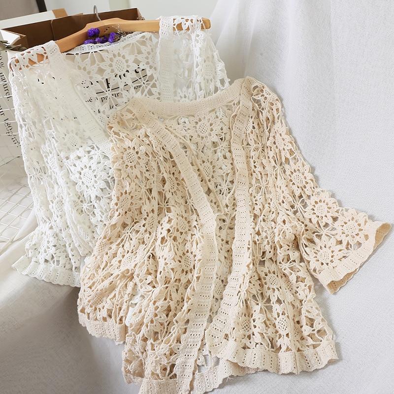 hollow out crochet insert frill top Kimono Cardigan Beach White Summer Cardigan Women Hollow Out Cardigans Crochet Top Summer Shirt 2020 Korean Shirts Lace Blouse