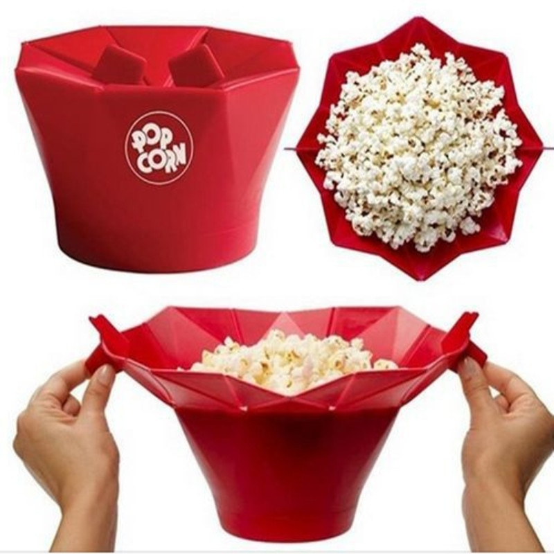 Пищевая силиконовая чаша для приготовления попкорна, микроволновая складная чаша для попкорна, инструменты для выпечки попкорна DIY, ведро д...