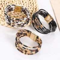 multilayer leopard leather bracelet magnet buckle personality beaded leather cord bracelet copper tube jewelry for women girls