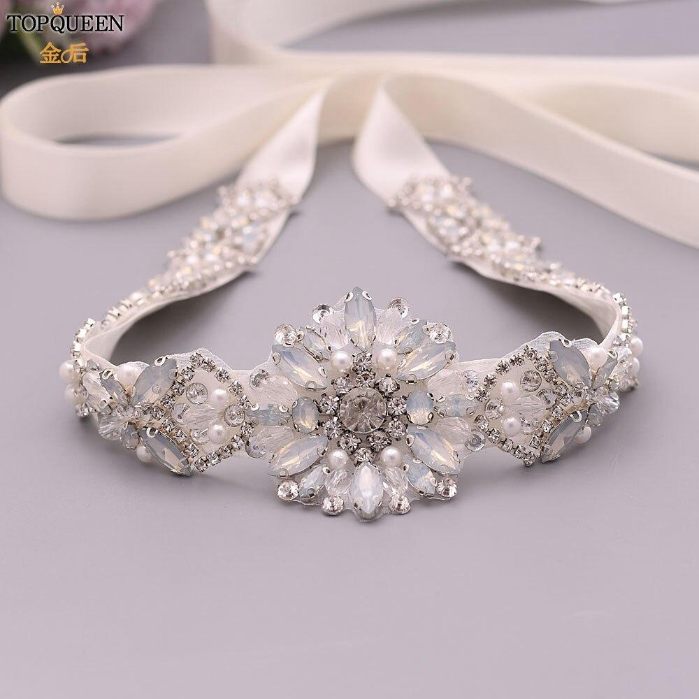 TOPQUEEN Bridal Belts Dresses Bridal Belt with Pearl Silver Rhinestone Sash Opal Bridal Belt for Dresses Strap Pearls S408