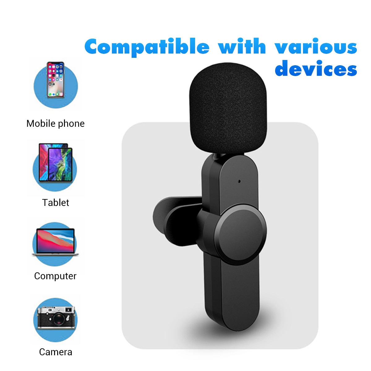 Aibevi Wireless Microphone 2.4GHz Mini Lavalier Mic Noise reduction Interview Mic for iOS for Type-C Smartphone Recording enlarge