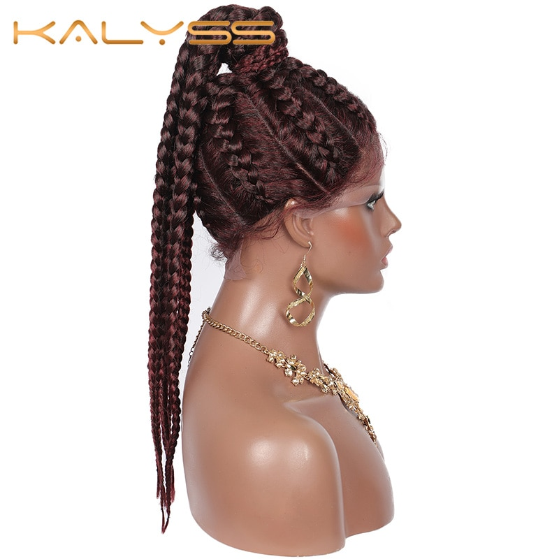 Kalyss 22 Inches Tiny Box Braided Wig with Ponytail for Women 360 Lace Frontal Baby Hair Synthetic Cornrow Braids