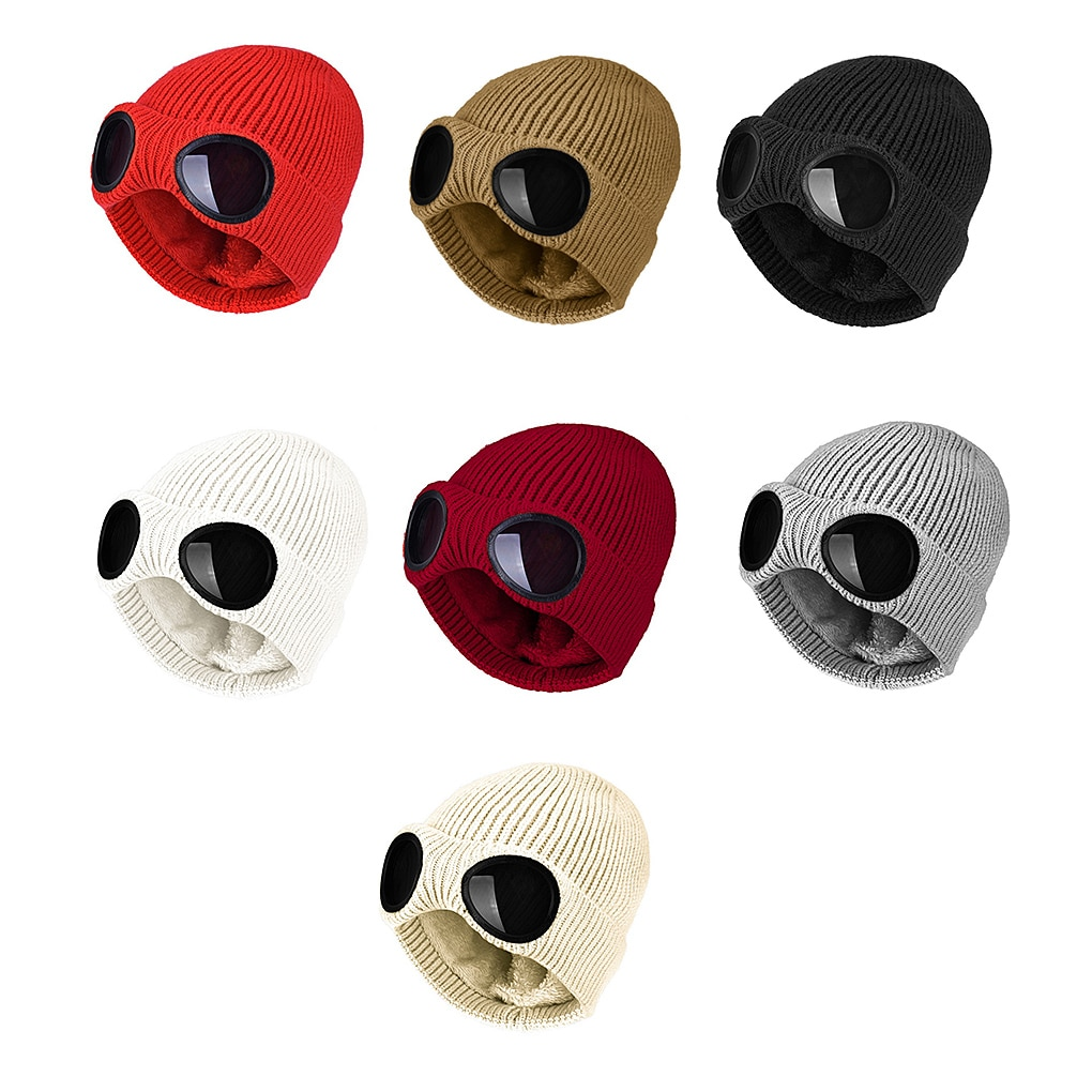 Зимние теплые вязаные шапки Новые модные ветрозащитные лыжные шапки унисекс для взрослых 2021 года со съемными очками Утолщенные спортивные ...