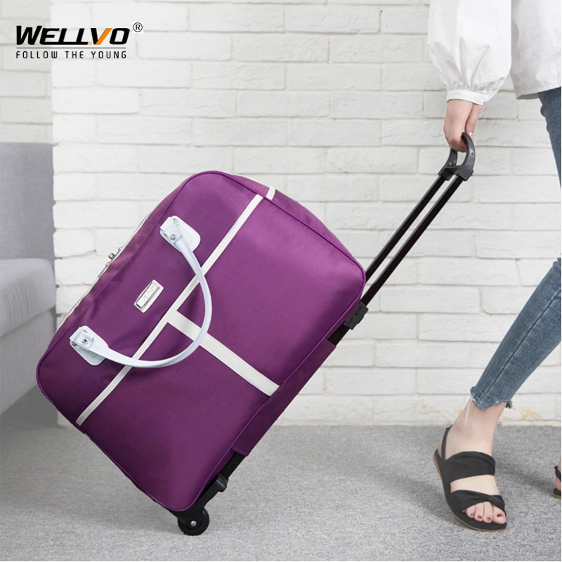 Large Trolley Bag Luggage Travel Duffle Bags Rolling Suitcase Women Travelling Handbag With Wheel Ca