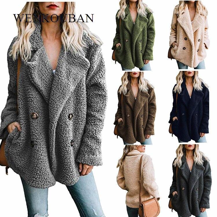 Abrigo de piel para mujer, chaquetas de invierno mullidas, abrigo de felpa cálido para mujer, grueso de gran tamaño, chaqueta de piel sintética para mujer