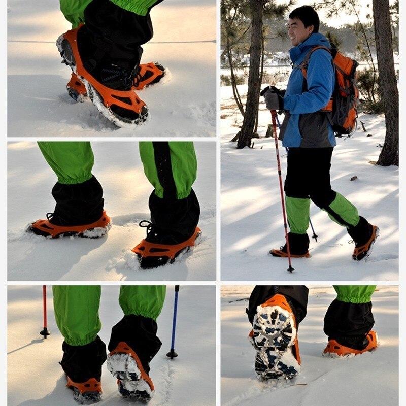Pinza de hielo de 8 dientes, antideslizante para nieve al aire libre, 8 clavos, pinchos para esquí, escalada, crampones, zapatos de invierno, pinzas, cadenas de garras #4
