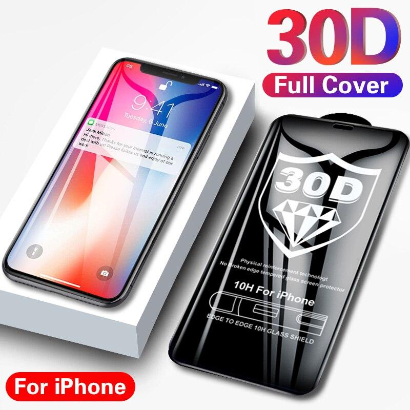 Vidro protetor 30d para iphone, vidro temperado para proteção de tela, para iphone x, xs, 11, pro, max, xr, 7, 8 6 plus 10 se 2020 capa completa