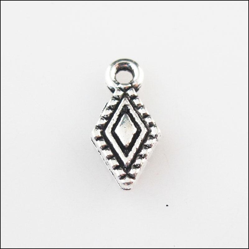 60 novos encantos pingentes de prata tibetano da cor da lágrima do lozenge 6.5x13mm