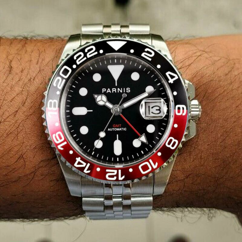 40mm PARNIS black dial Cola bezel Sapphire glass GMT automatic mens wrist watch