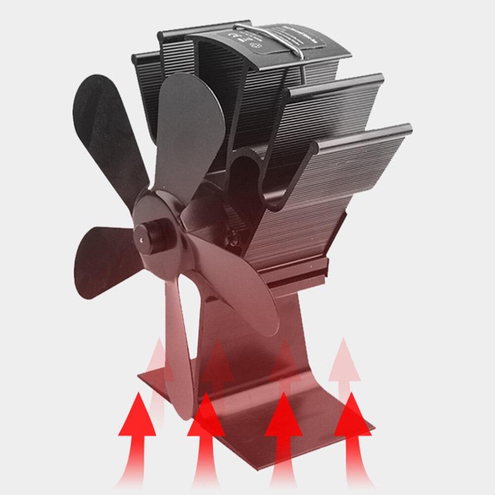 Новый камины печи 4 лезвия Вентилятор для печи, работающий от тепловой энергии черный камин алюминиевый бесшумный eco-friendly для выращиваемого ...