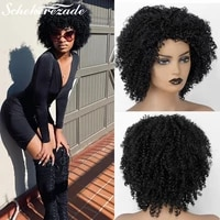 short bob synthetic lace front wigs afro kinky curly wigs for black women t part cosplay party wigs heat resistant scheherezade