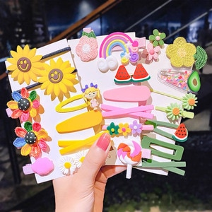 Cute Girls Hairpins Set Sweet Cartoon Flower Rainbow Hair Clips Children Candy Color Hair Accessories Set Kids BB Clips Barrette