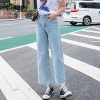 xisteps wide leg autumn high waist vintage loose thin jeans for women casual boyfriend streetwear denim pants no stretch 2020