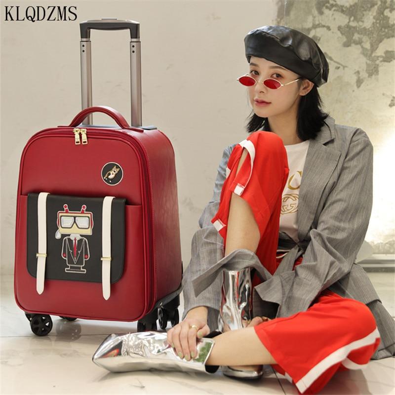 Классический женский чемодан на колесах KLQDZMS, чемодан на колесиках, чемодан на колесиках 18 дюймов, Женский Дорожный чемодан на колесиках, те...