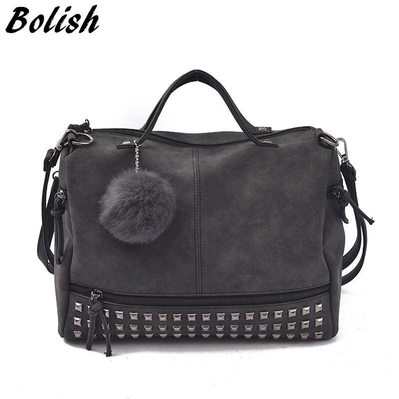 Женская сумка-мессенджер boish, винтажная сумка из нубука с верхними ручками и заклепками