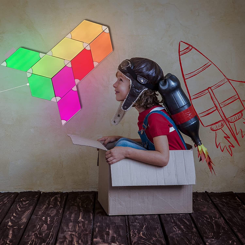 Triangle Light Panels Wall-Mounted Smart Kit, WiFi Lighting Lamp RGB LED Wall Light Panels Gaming Room, Party Decor