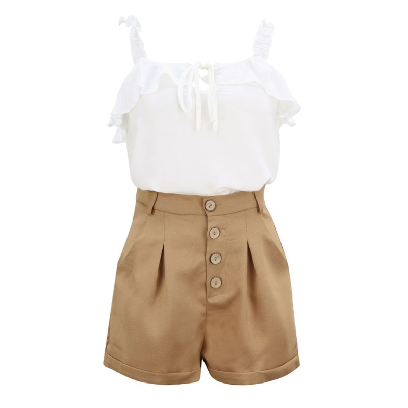 knot back surplice crop cami top with shorts Women Summer Casual Cami Shorts Set Sleeveless Straps Crop Top Buttons Shorts Set Outfits