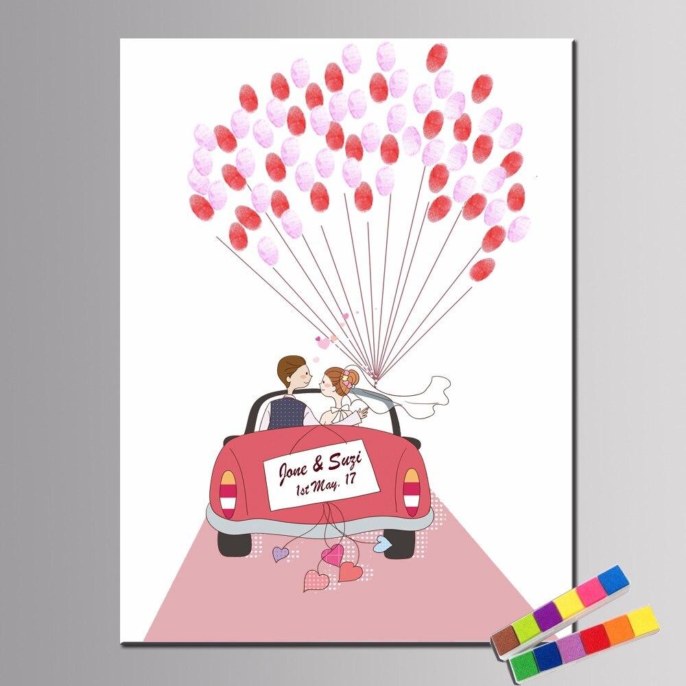 Party Favor Angepasst 50*70cm Heißer Luft Ballon Hochzeit Baum Unframed Leinwand Malerei Fingerprint Unterschrift Gästebuch Mit tinte