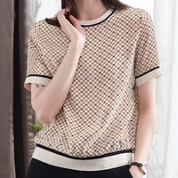 silk top womens short sleeved square plaid printed t shirt 2021 summer new ribbed half sleeved mulberry silk t shirt