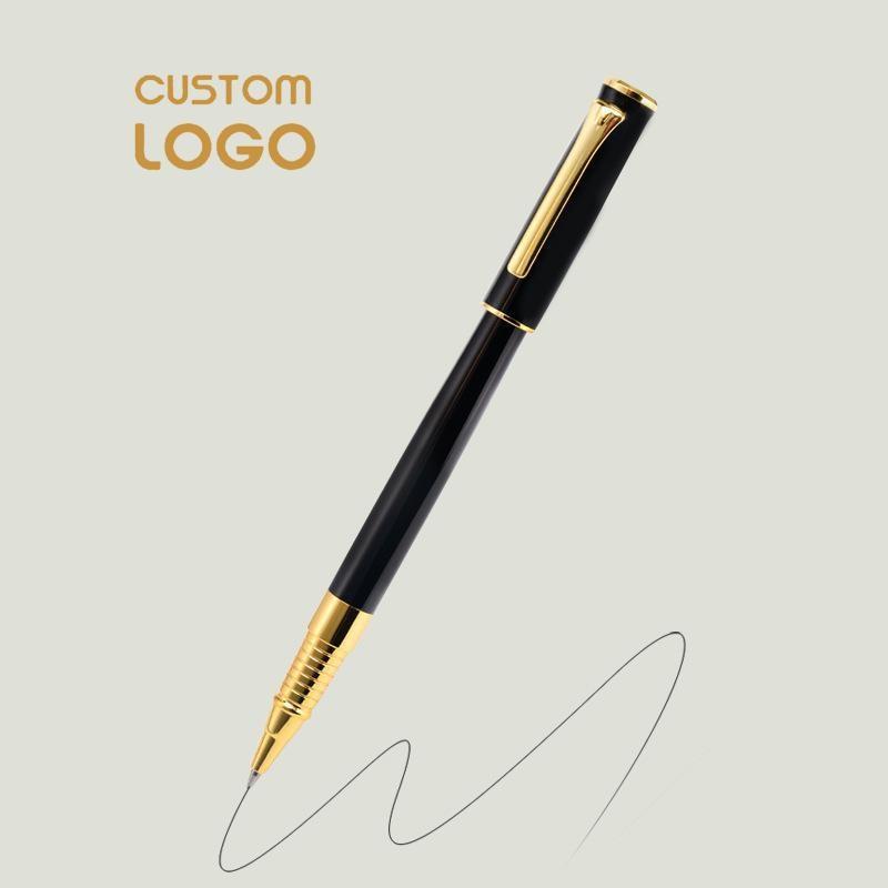 Bolígrafo con logotipo personalizado bolígrafo de lujo Metal 0,5mm tinta negra pluma de regalo artículos de oficina de papelería de negocios promocionales