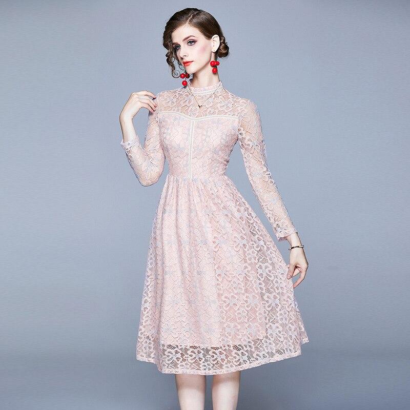 Vestido de otoño 2019 para mujer vestido de encaje de manga larga S-2XL vestido elegante de mujer vestido de fiesta de cuello redondo largo