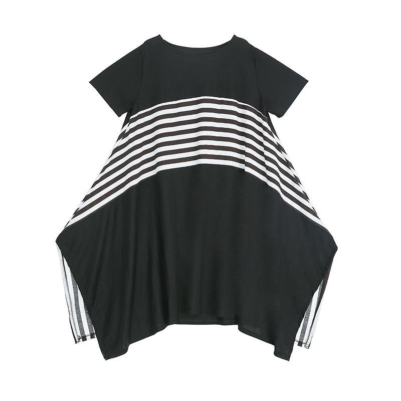 LANMREM puede enviar 2020 vestidos de manga corta de cuello redondo de retales a rayas de verano famale personalidad talla grande Irregular YJ089