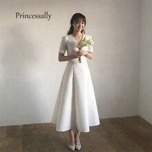 Neue Einfache Hochzeit Kleid Satin Tee länge Kurzarm A-line v-ausschnitt Robe De Mariee Trouwjurk Vestido Noiva China Aliexpress