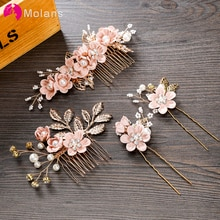 MOLANS horquilla de lujo para mujeres peines tocado Prom corona para novia accesorios de pelo elegantes Gorro con hojas doradas 1 pieza