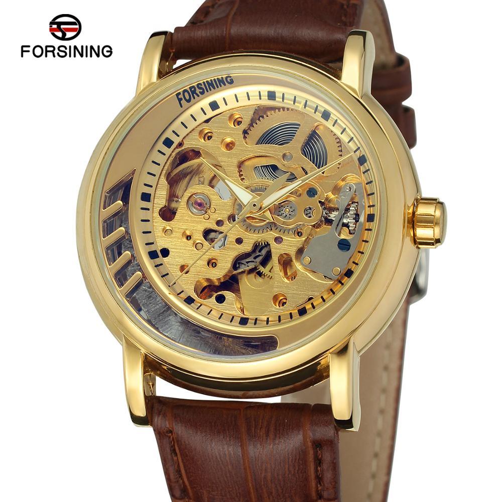 Marca de Luxo Pulseira de Couro Pulseira de Couro dos Homens Estilo Negócio Automático Analógico Vestido Relógio dos Homens Relógios op Marca Luxo Montre Homme