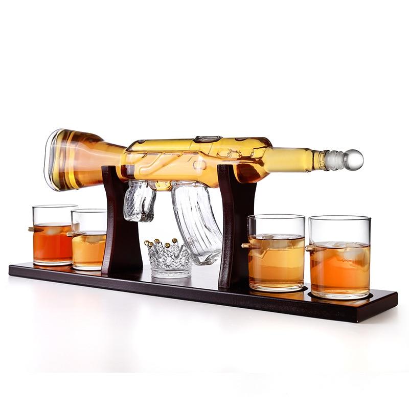 Hellodream novedoso juego de decantador de whisky en forma de pistola home bar 5 uds con soporte de madera para licor Scotch Bourbon