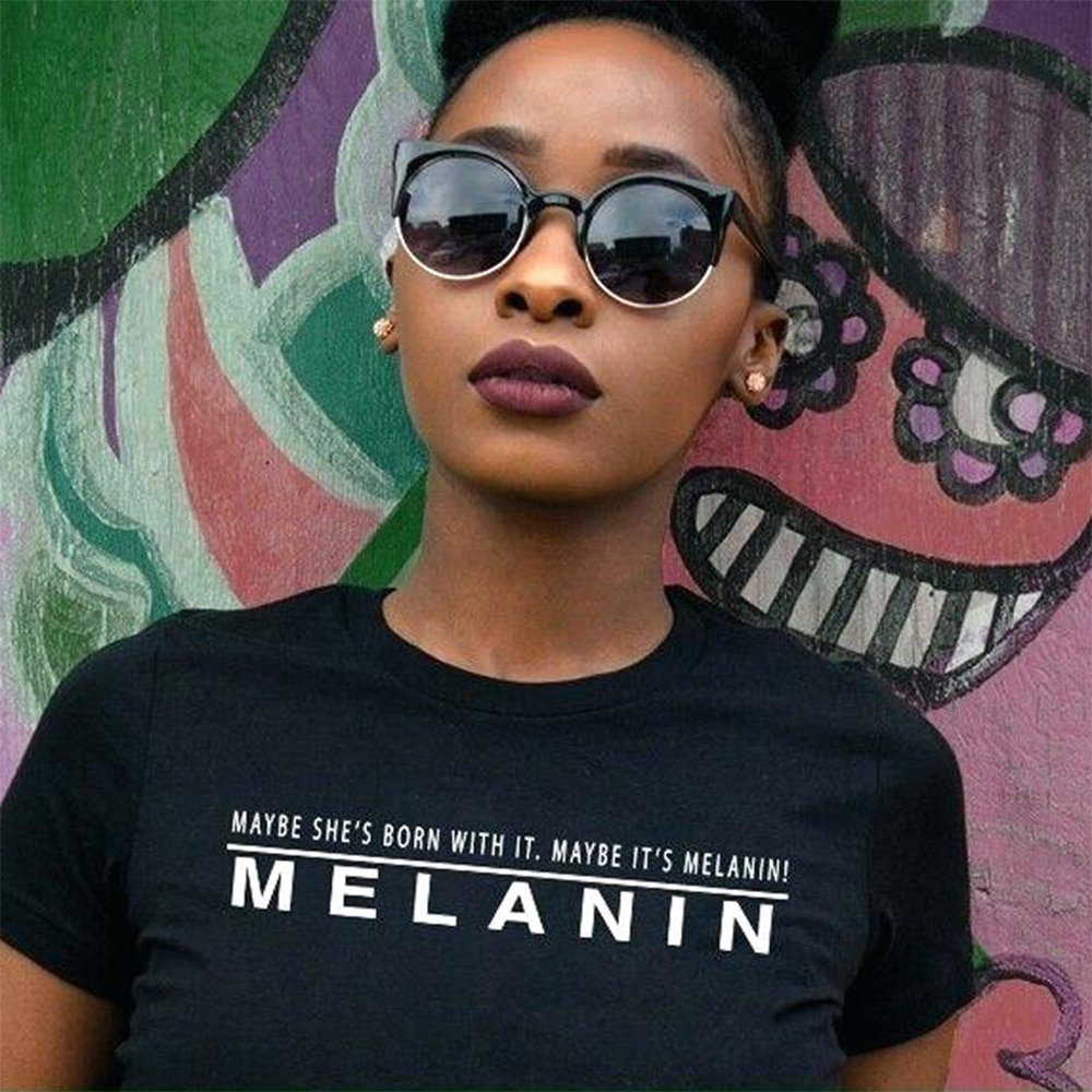 Tal vez es camisa de melanina negro gracioso mujer camisetas de algodón de manga corta Tops de cuello redondo de talla grande la cultura negra camisetas, Harajuku, blusas