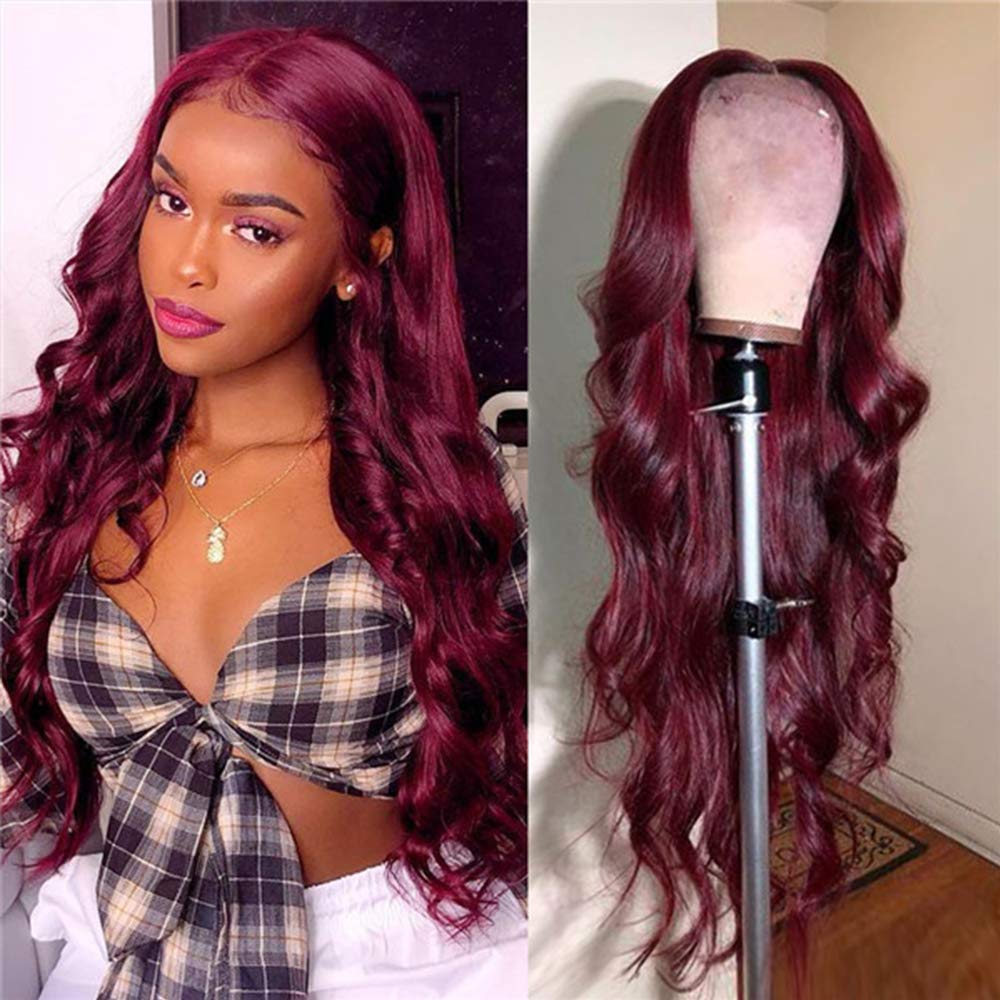 99J Lace Front Wigs Human Hair Burgundy Wigs Body Wave Brazilin Human Hair Wigs for Women Pre-Plucked Hairline 180 Density