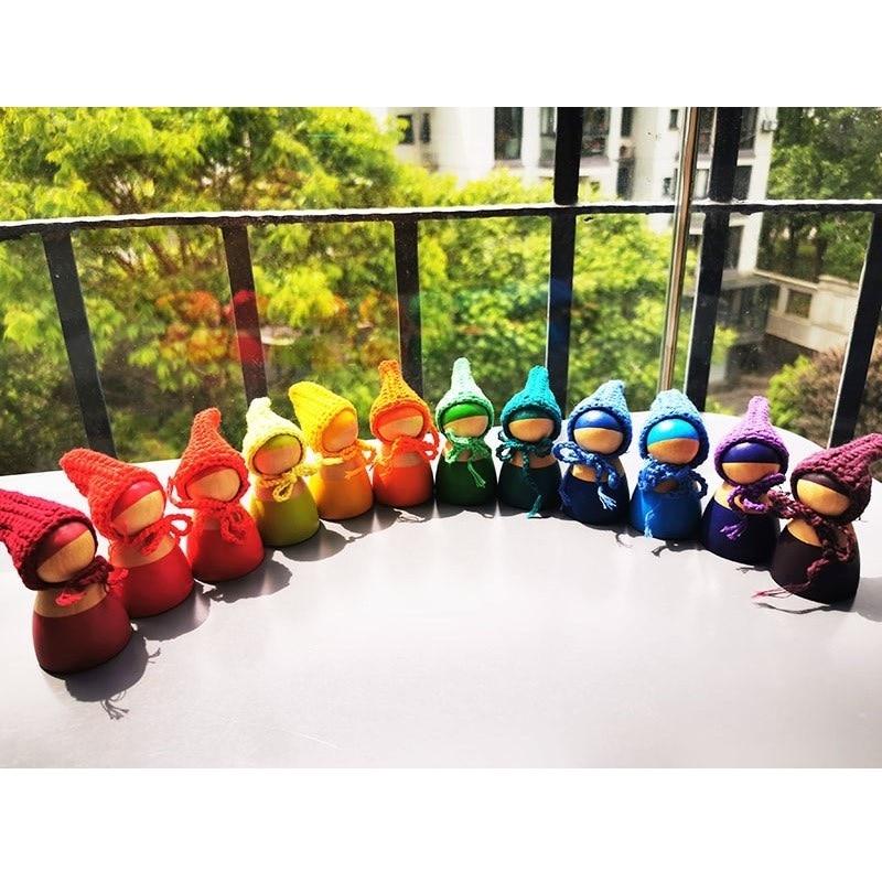 6/12 Uds hilren arco iris de madera de muñecas en gorros para Arco Iris apilable, bloques de madera Natural muñecas en tejido de punto sombrero juguete de Montessori