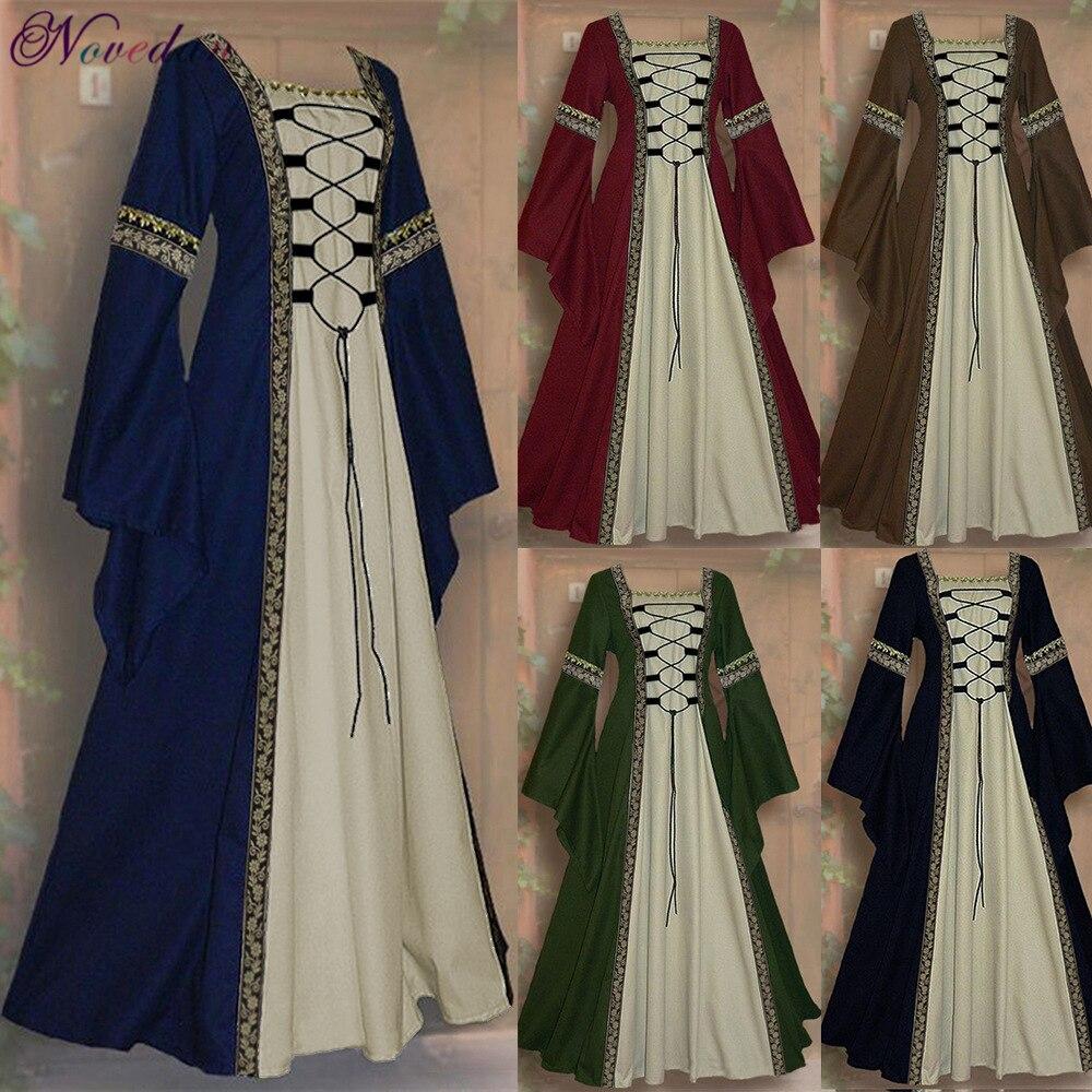 Retro festa renascentista vitoriano medieval gótico vestidos longos feminino maxi vestido de baile da idade média vestido de baile traje de halloween