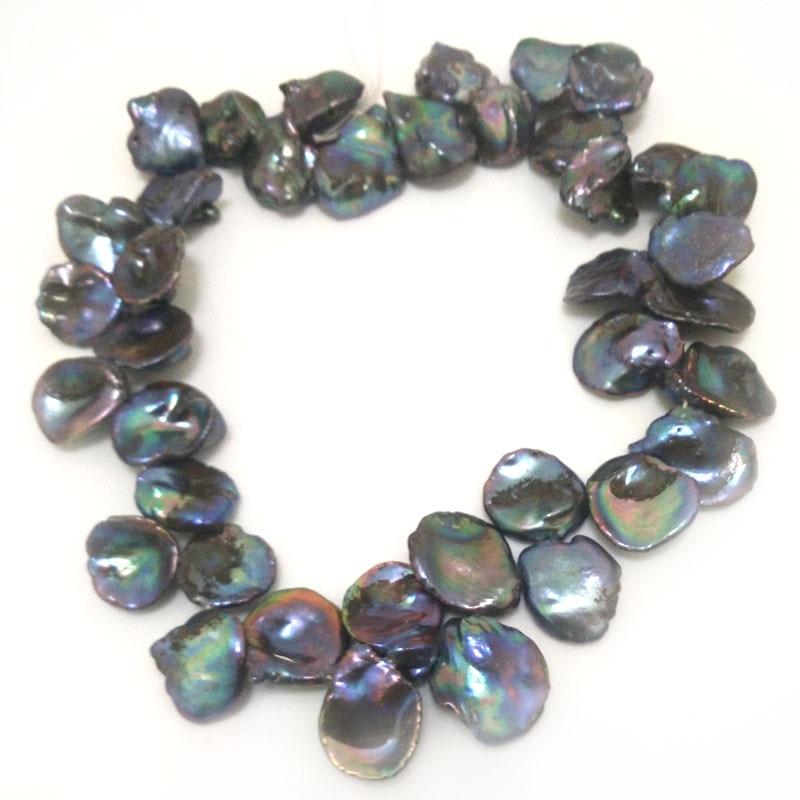16 pulgadas de 12-18mm lado perforado negro barroco natural perla keishi mechón