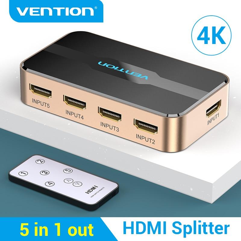 Vention-interruptor HDMI 4K 5 en 1, Salida para XBOX 360, PS4, Smart...