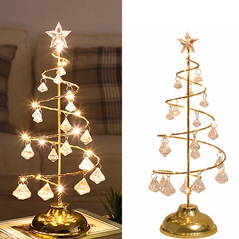 Christmas Tree Crystal Lamp Garland Fairy Lights Desk Table Lamp Christmas Lights Decoration for Bedroom Led Lighting New Year 2018 special offer time limited christmas tree new led christmas lighting yard decoration 1 6m led backdrop lamp h199