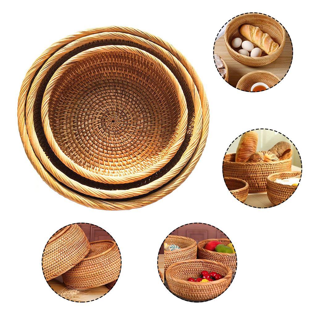 Cesta de vime redonda grande de 3 pçs/set feita à mão, cesta de vime para armazenar alimentos, tigelas, doces e alimentos